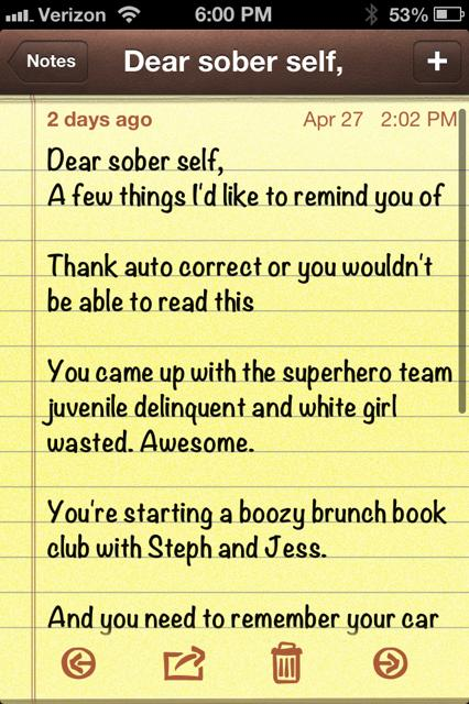 Note Sober Self